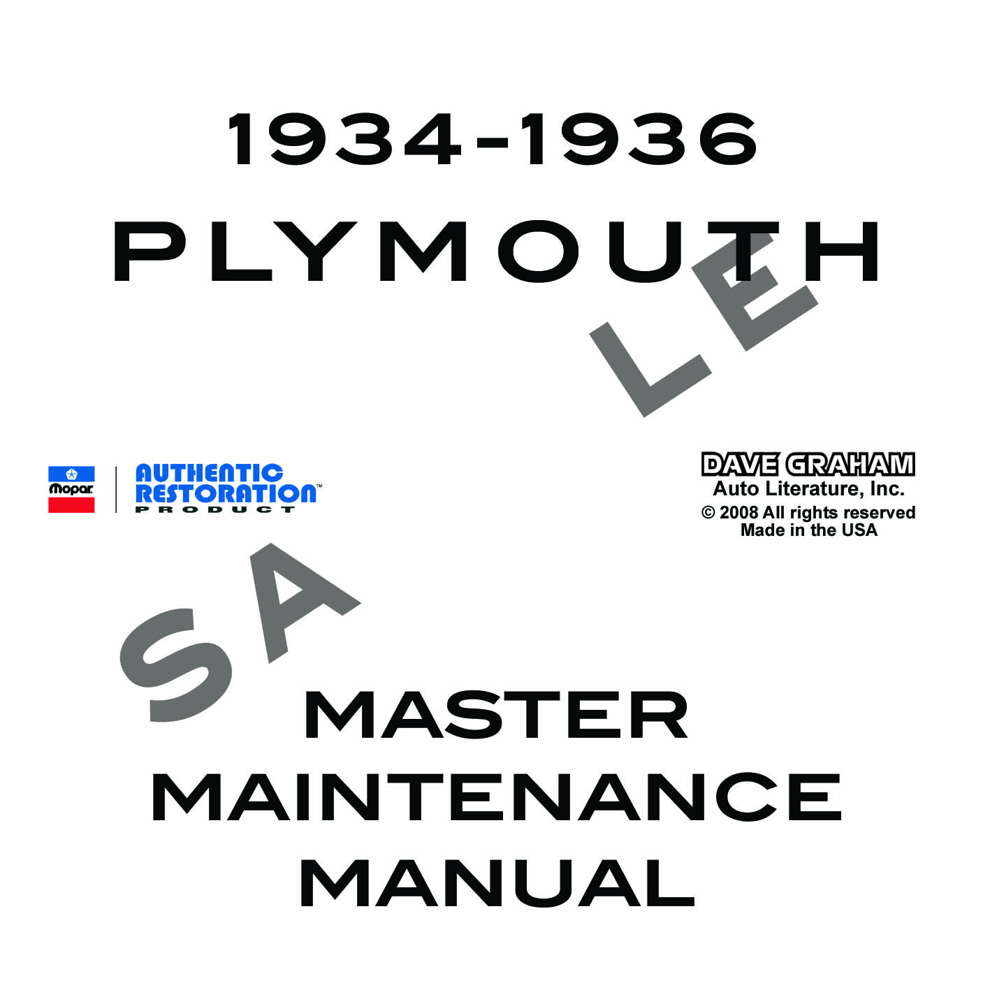 1934, 1935, 1936 PLYMOUTH REPAIR MANUAL