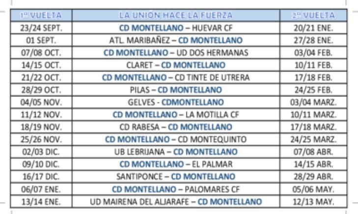 Calendario futbol CD Montellano