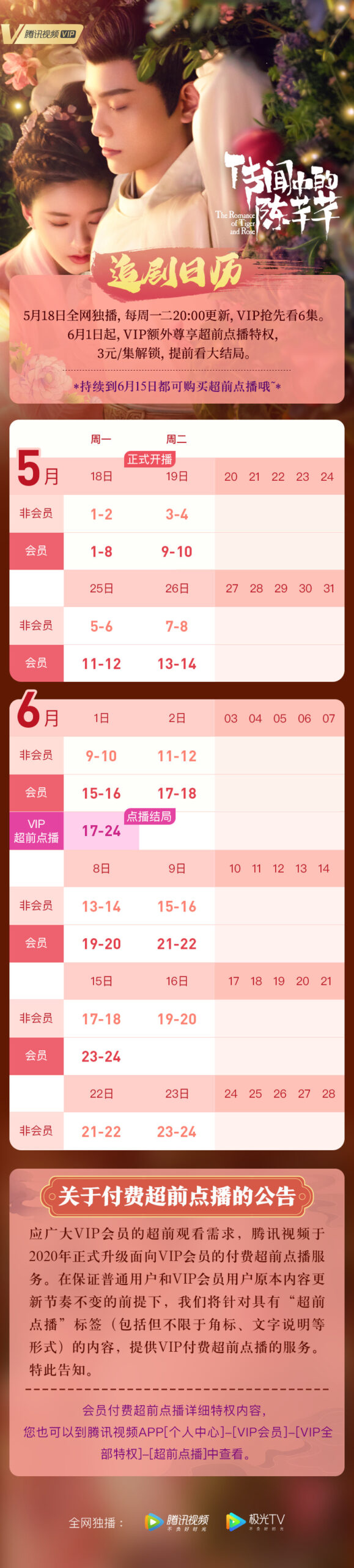 The Romance of Tiger and Rose Airing Calendar