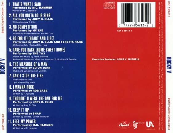 Rocky V Soundtrack 1990  CD Sniper Reference Collection