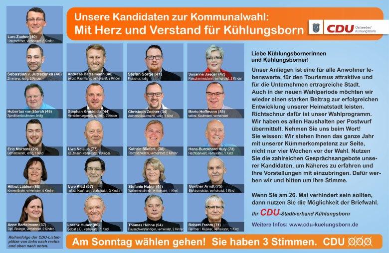CDU Kühlungsborn Kandidaten   Mit Herz und Verstand für Kühlungsborn