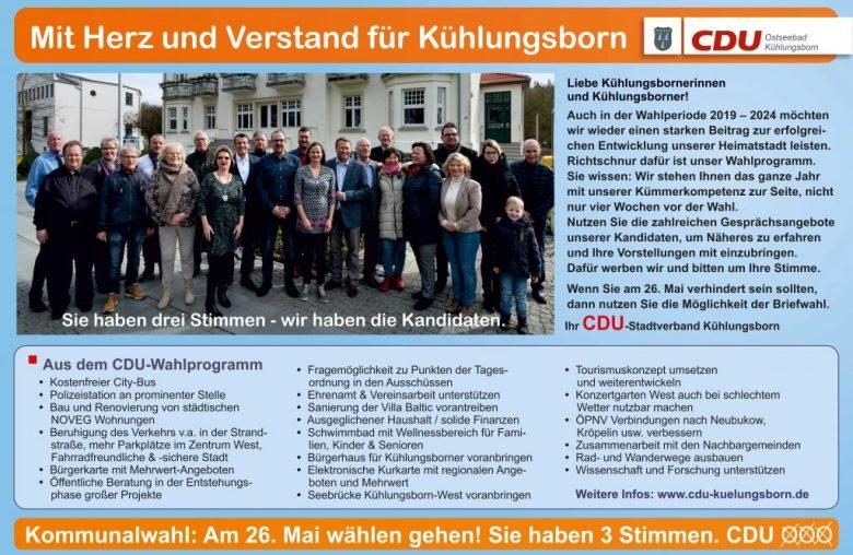CDU Kühlungsborn  Auszug aus dem Wahlprogramm