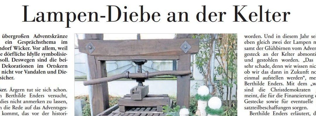 Höchster Kreisblatt: Weihnachtsschmuck gestohlen