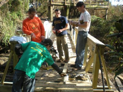 Civil Engineering students working on wooden bridge