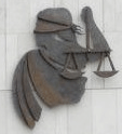 Blind Lady Justice, mural on the wall of the Criminal Courts of Justice, Dublin
