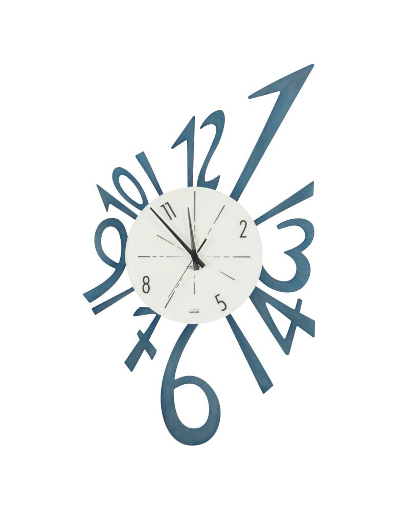 orologio da parete realizzato in tranciato di legno inciso, stuccato a mano e supportato su multistrato di pioppo. Orologio Da Parete Numerico Piccolo