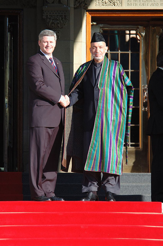Hamid Karzai meets with Stephen Harper in September, 2006.  Photo by lafrancevi on Flickr.