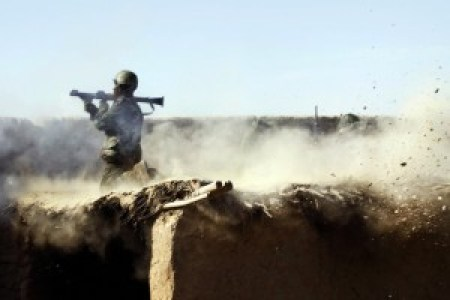 An Afghan National Army soldier fires a rocket-propelled greneade in the Helmand Province (ISAFMedia)
