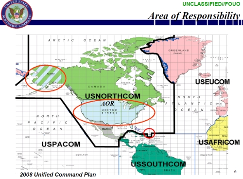 "USNORTHCOM ""area of responsibility"" under the U.S. Unified Comand Plan"