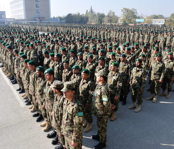 Afghan National Army soldiers at a graduation parade at the Kabul Military Training Centre  Photo: Sgt Norm McLean, Canadian Forces Combat Camera