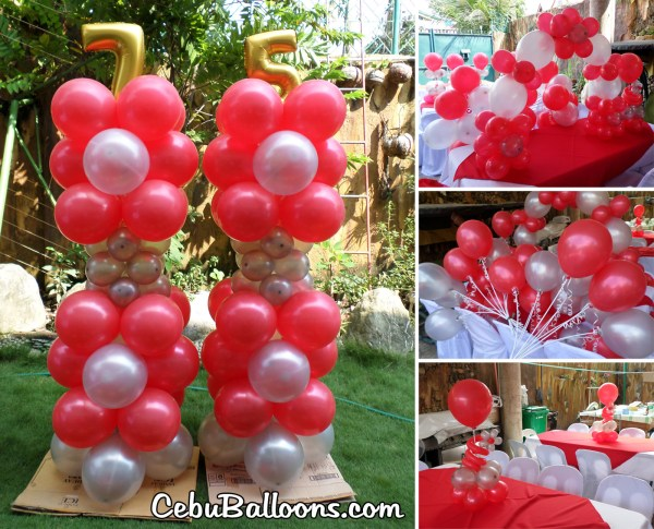 Balloon Centerpiece For 75th Birthday Party