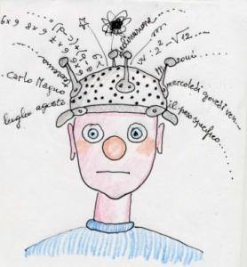 disegno di un bimbo con uno scolapasta per cappello