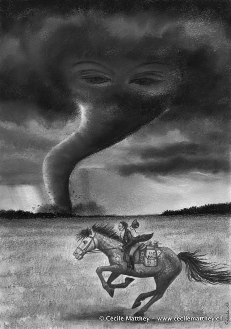 "Illustration pour  ""Three and the tornado"" de Sadie Bruce (Steampunk Magazine, à paraître)"