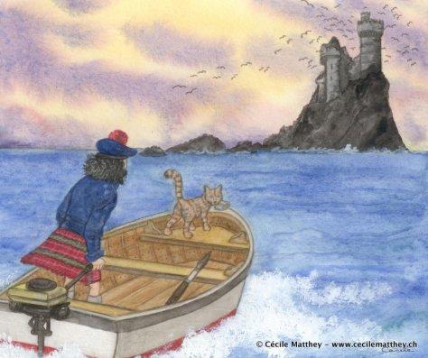 """Petit hommage à """"L'île noire"""" d'Hergé pour une amie (et son chat) à l'occasion d'un voyage en Ecosse."""