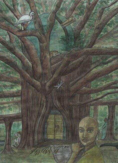 "Illustration pour ""Holy Many-Minds Home"", de Michael Díaz Feito (webzine ""The Future Fire"", 2016.36)"