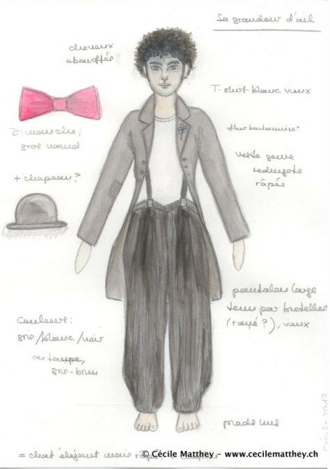 Projet de costume réalisé pour « L'été» de Romain Weingarten (Théâtre de la Cité de Fribourg, 2014)