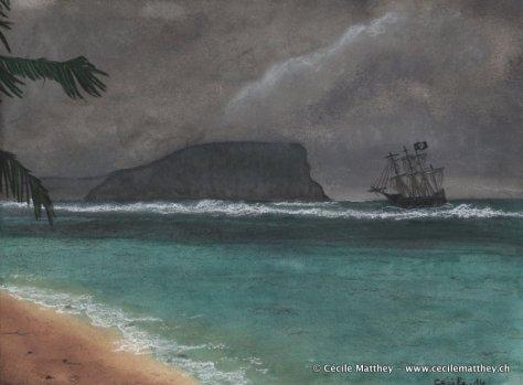 """Illustration inspirée de """"L'île au trésor"""" et d'autres récits de pirates..."""