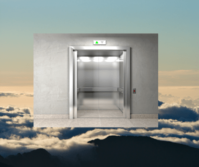 Elevator in clouds