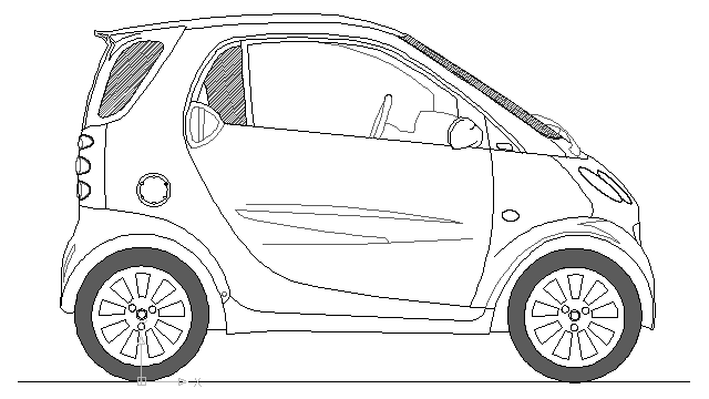 Smart Car block in vehicles cars Autocad free drawing 166