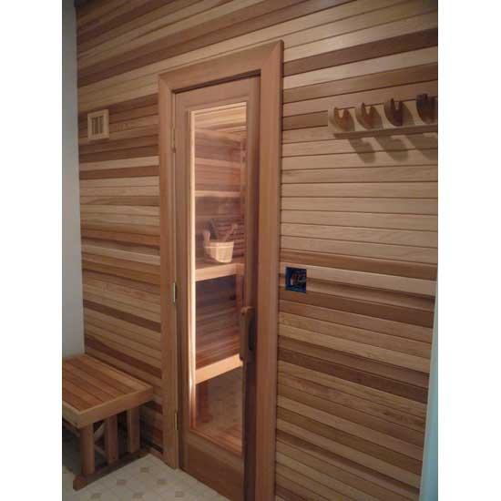 Residential Sauna Door  16 x 55 Window  Cedar Rails  Stiles