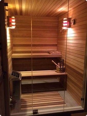 5x6 Home Sauna Kit with glass front wall