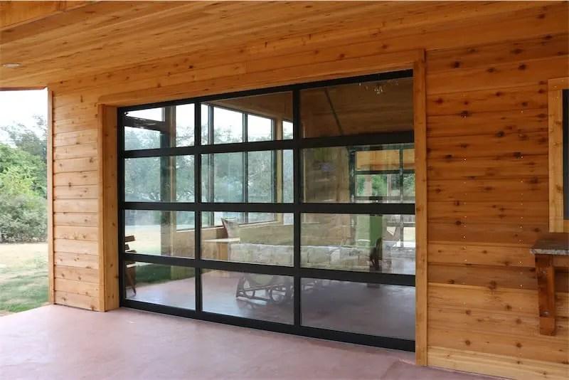 full view glass garage doors cedar