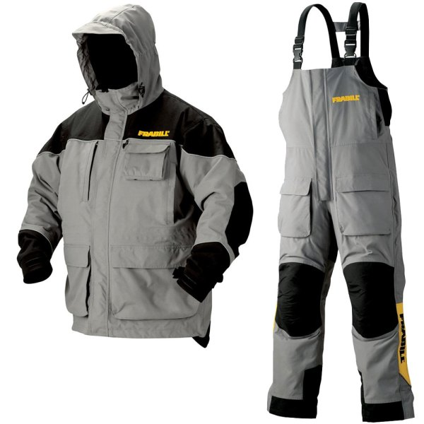 Frabill Gray Jacket & Bibs Set - Grey Ice Fishing Suit Size Medium