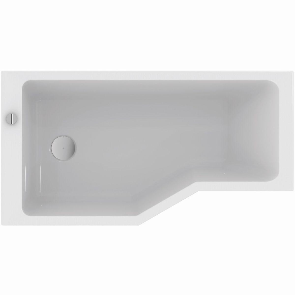 baignoire asymetrique plenitude 3 170 90 70 cm gauche acrylique blanc vidage inclus