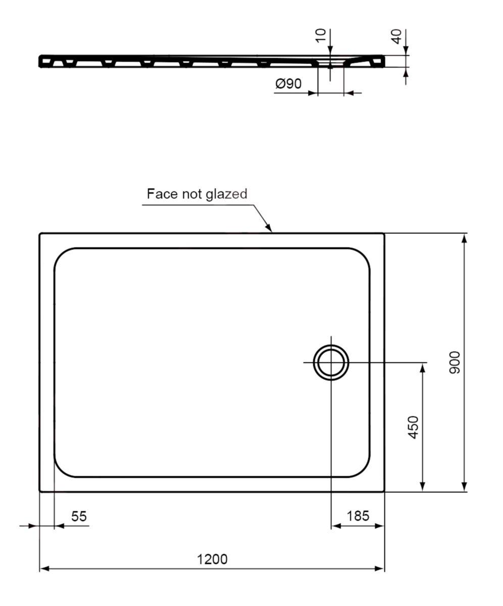 receveur design ultraplat 120 x 90 cm