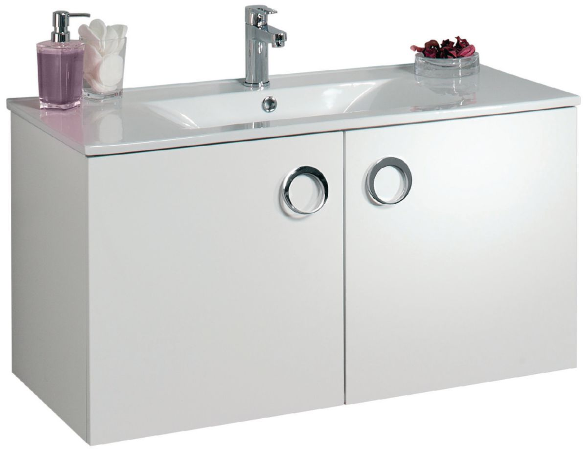 Alterna Meuble Sous Vasque Seducta 90 Cm 2 Portes Blanc Brillant Cedeo