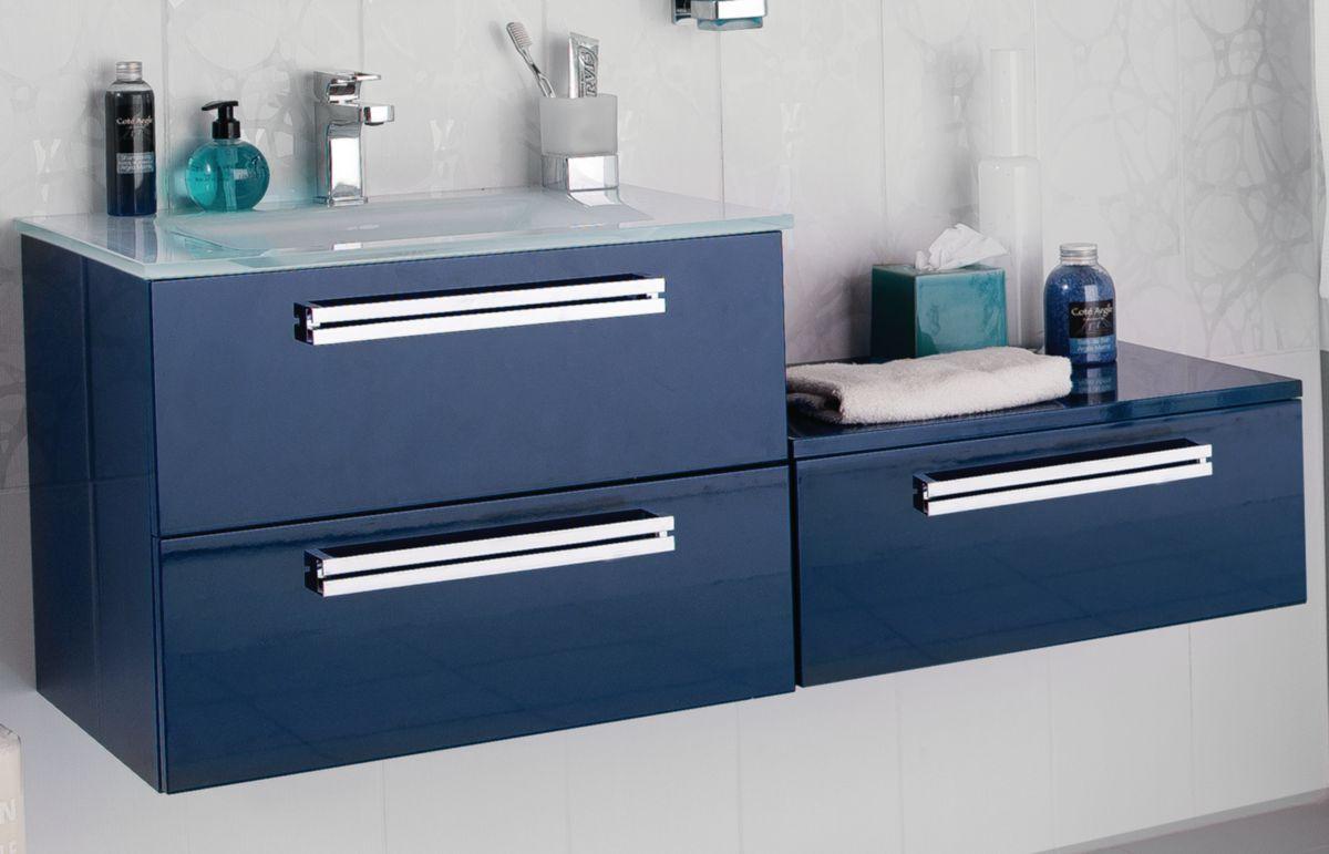 Meuble Sous Vasque SEDUCTA 120 Cm 2 Portes 2 Tiroirs Bleu