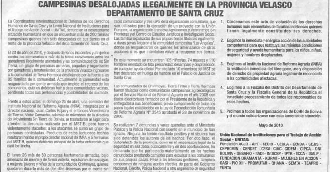 Restitución y garantías de los derechos fundamentales de las familias campesinas desalojadas