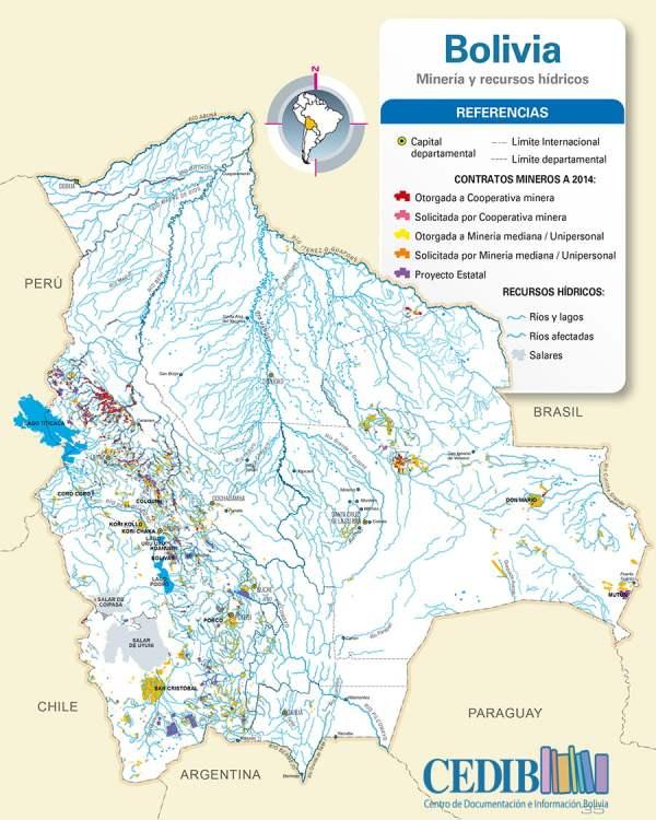 Mapa Mineria y recursos hídricos