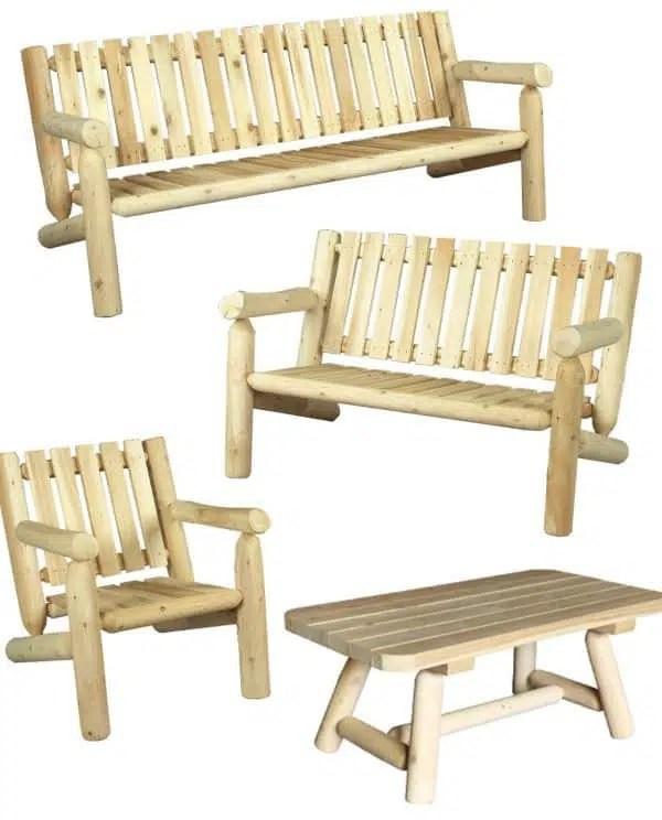 salon de jardin en bois fauteuil et canape ref s5