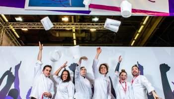 Salon Europain 2018. Photo de groupe des membres du jury de la Coupe de France des Ecoles