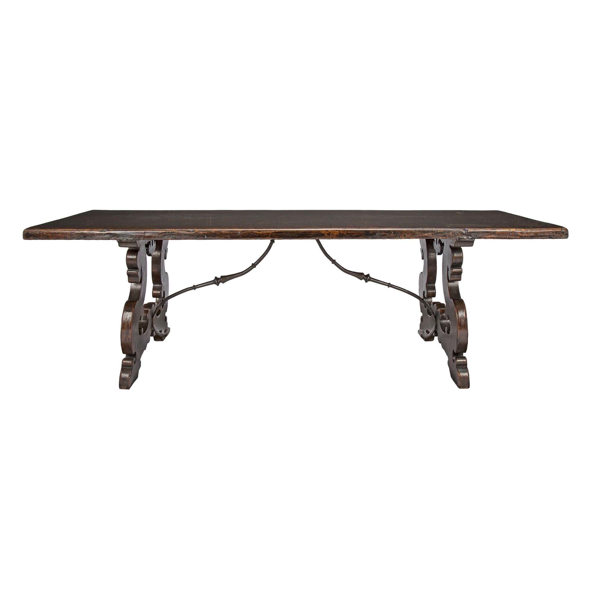 An Italian 18th Century Solid Walnut Trestle Table