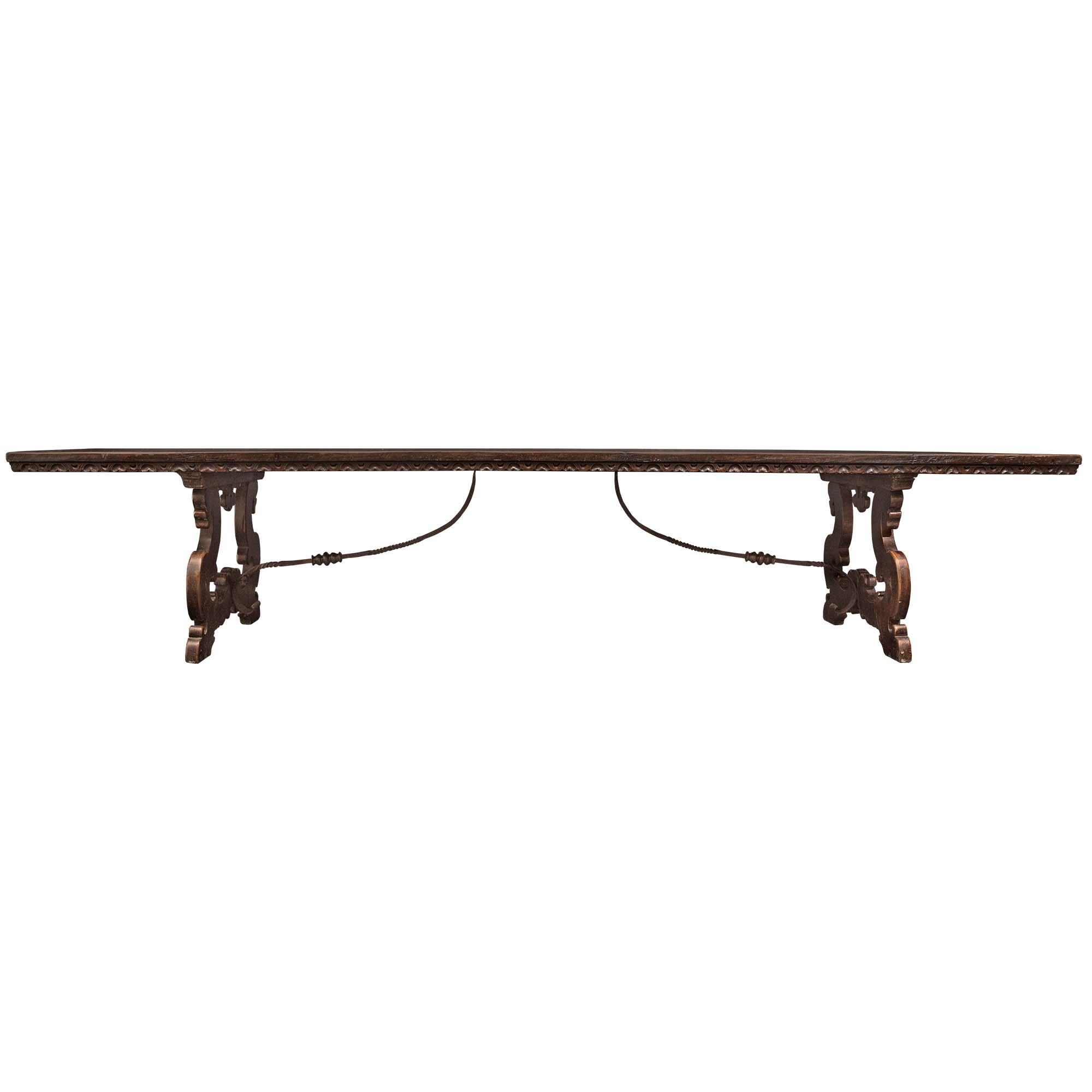 18th Century Spanish Solid Walnut Trestle Dining Table