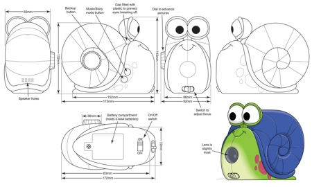 snail toy control drawing turnarounds