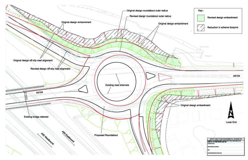 Figure 2 - Redesign of eastern roundabout to reduce landtake