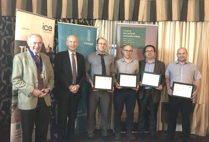 (left to right) John Mather, Chair of ICE North Wales Branch; Professor Lord Robert Mair CBE, ICE President; Oliver Edwards, CCBC; Gethin Morgan, Mott MacDonald Project Manager; Richard Griffiths, Mott MacDonald Director; Benjamin Poulton, Mott MacDonald Project Manager