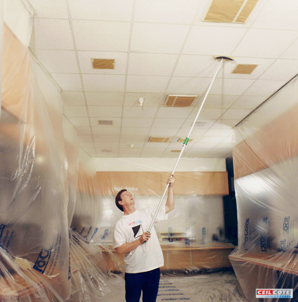 Ceiling spray painting for commercial premises Ceilcote