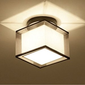 WOERFU Semi Flush Mount Ceiling Lights Black Paint Finish Fabric Shade Pendant Light Fixture Square Modern Lighting Features With