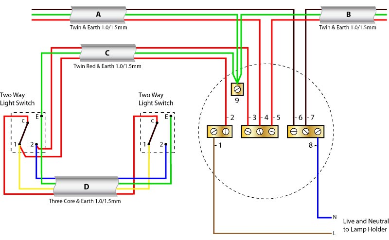 5 way light switch wiring diagram danfoss 3 port motorised valve ceiling rose with two switching older cable colours wat using the