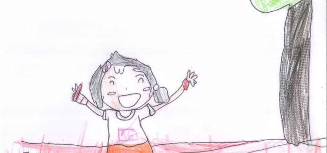 Dibujo ganador del concurso para el cartel de la VI San Isidro Carrera escolar (2019)