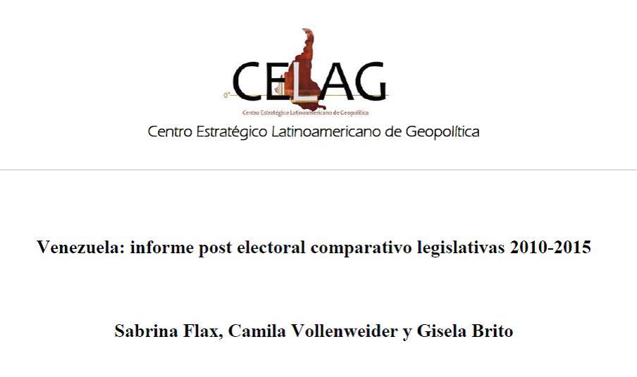 Venezuela: Informe Electoral comparativo legislativas 2010-2015 (por Sabrina Flax, Camila Vollenweider y Gisela Brito)