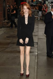 Emma Stone Leggy Wearing Black Mini Dress Ed