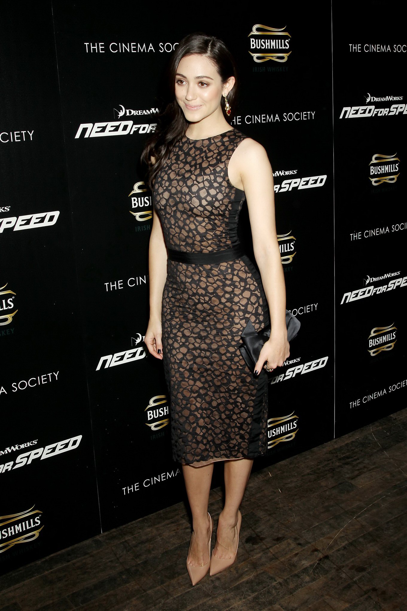 Emmy Rossum seethrough to bra at the Need For Speed screening in New York City