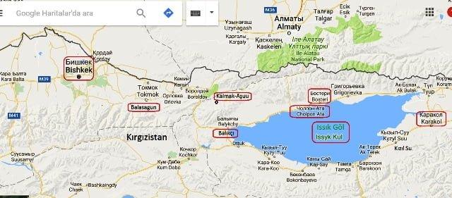 Kırgızistan tur haritası