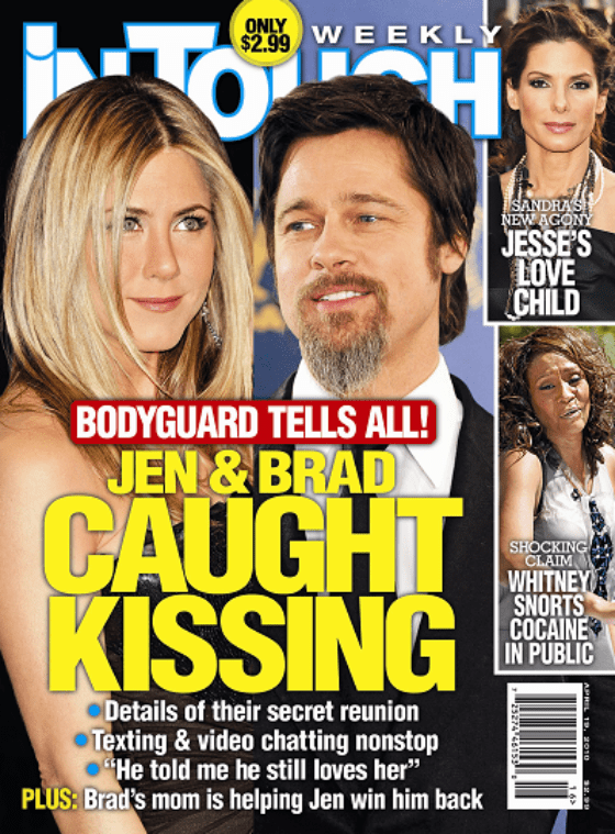 In Touch Brad Pitt & Jennifer Aniston were caught kissing