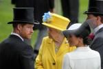 ロイヤルアスコット、TRHハリー王子、サセックス公爵、TRHメーガンサセックス公爵夫人の肖像、HRHエリザベス2世女王の前で